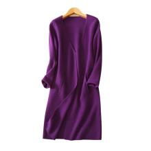 Capa larga de la cachemira de las mujeres no botones abrigos gruesos del invierno con los bolsillos con cuello en V decoración que hace punto la ropa