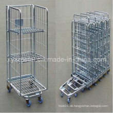 Exportierter Raum sparen Faltbarer Stahldrahtkäfig Beweglicher Rollenbehälter