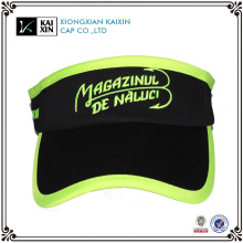 Custom embroidered sports plain black long bill large sun visor cap
