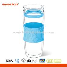 Doppelwandige Glas-Tee / Kaffee-Trommel, schwarz, 16-Unze