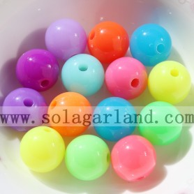 Opaque Fluorescence Mixed Acrylic Plastic Round Ball Spacer Beads