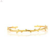Gold überzogene Ast Manschette Armreif Kupfer Dorn Armband