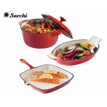 Three Pieces Red Cast Iron Cookware Set