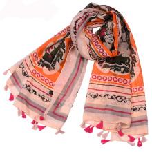 Nouvelle arrivée écharpe en voile de coton femmes musulmanes arabe hijab écharpe avec pompon tribal impression écharpe