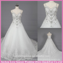 WD6033 Quality fabric heavey handmade export quality spaghetti straps pictures of long train lace wedding dresses