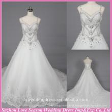 WD6033 Qualidade de tecido heavey artesanais qualidade de exportação de correias de espaguete imagens de vestidos de noiva de renda de trem longo