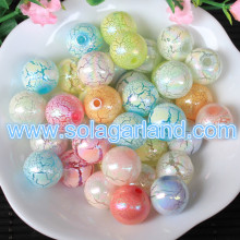 8MM 10MM 12MM 14MM 16MM Acrylic Plastic Round Color Plating Crackle Jewelry Beads