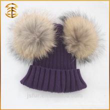 Chapeau fourre-tout authentique en fourrure de raccoon Jacquard Pom Pom