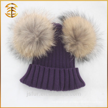 Custom Crochet Jacquard Pom Pom Genuine Guaxinim Fur Hat