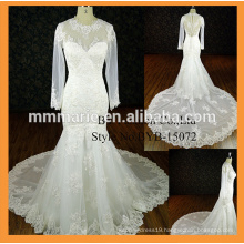 Floor Length Custom Made Formal Brides Wedding Big Train wedding dress long sleeve