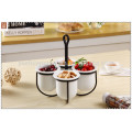 beautiful hotel ceramic decorative fruit bowl with steel tower