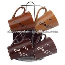 Самый продаваемый керамический кофейный набор 8шт с металлической полкой для BS12009