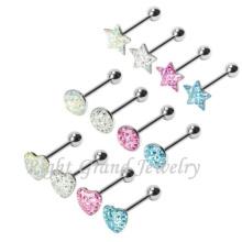 Corazón estrella mezclado formas mejor diseño lengua anillo Piercing joyería única