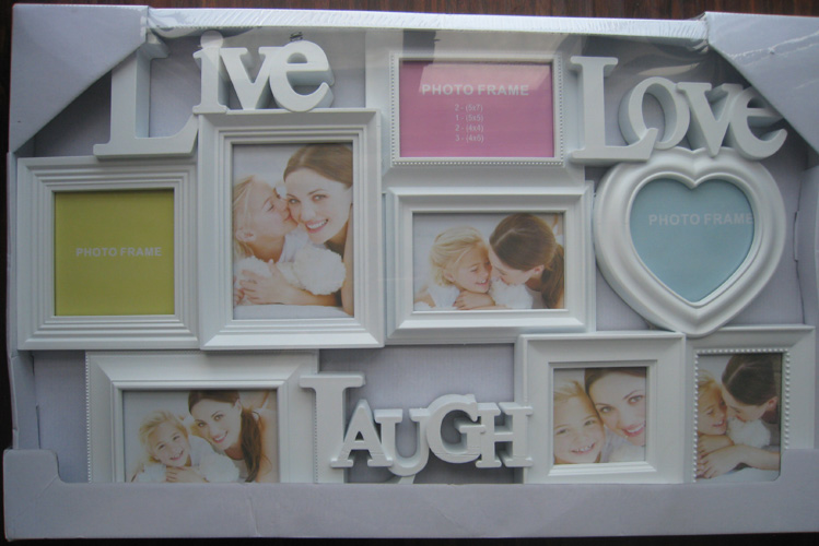 new style 8 opening white plastic collage frame with letter live love laugh and heart
