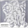 Vente chaude pas cher tricoté brodé tulle fleur blanc mariée tissu en dentelle