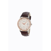Man's Rose Gold Watches With Leather Strap