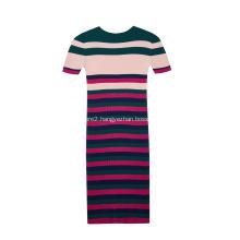 Women's Knitted Short Sleeve Stripes Stretchable Slim Dress