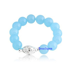 Natural Amazon Beads Bracelet with Silver Charm (BRG0022)