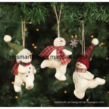 Poly Decoración de muñeco de nieve de piedra, Xmas regalo colgante
