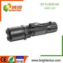 Factory Supply 3*AAA Battery Used Beam Adjustable Zoom Focus 3W Cree XPE Tactical led multi-function Police Flashlight