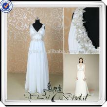 RSW497 elegante gasa blanco y plata vestidos de boda baratos hechos en China