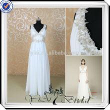 RSW497 Elegante Chiffon Branco E Prata Vestidos De Noiva Barata Feitos Na China
