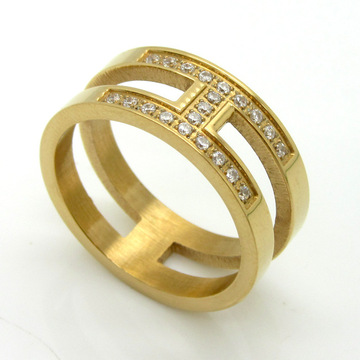 18 k Vergulde Bridal H Shape Zirkoon Ring