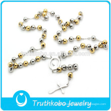 TKB-JN0021Promotional top quality two tone catholic rosary beads Virgin Mary Crucifix women's stainless Steel Necklace