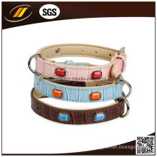 Wholesale Rhinestone Leather Dog Collars, Leather Pet Collars