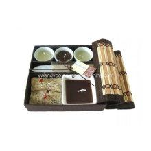 O presente de bambu do incenso da aromaterapia ajusta velas perfumadas