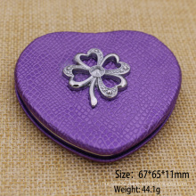 Supply Cheapest Leather Heart Shape Compact Mirror