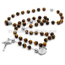 65 cm Collar Largo Mujer 316L Collar de Acero Inoxidable Rosario Religioso Perlas de Ojo de Gato Joyería Con Orar Cruz