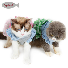 Checked Design Tutu Dog Apparel Denim Princess Cat Dog Bridal Wedding Clothes Dress For Pet Cat Puppy Dog