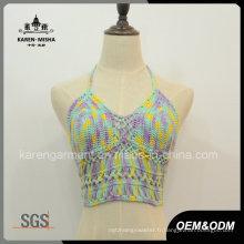 Halter Neck Crochet Crop Top vêtements d'été
