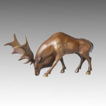 Статуя зверей-оленей Лось бронзовая скульптура, Горини Тпал-063