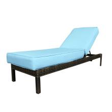 Mimbre al aire libre ajuste posterior tela Chaise longue