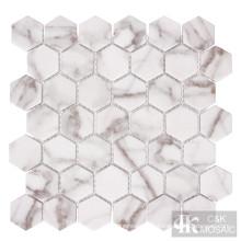 Nature Calacatta Gold Hexagon Printing Glass Mosaic