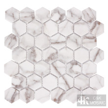 Природа Calacatta Gold Hexagon Printing Glass Mosaic