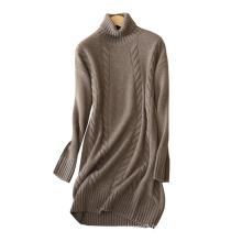 Robe d'hiver pour les femmes 2017 nouveau design épais chaud col roulé sexy au-dessus du genou robes de Noël en cachemire