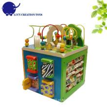 Crianças Educativas Multi-funcional 5 em 1 Zoológico de madeira Intelligent Playing Activity Cube