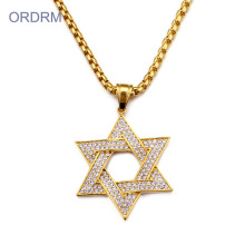 Jewish Rhinestone Gold Star Of David Halsband