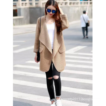 2017 New Arrival Women Fashion Spring Autumn Solid Khaki Cardigan Coat
