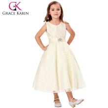 Grace Karin diseño de moda sin mangas V-cuello Beige vestido de niña de flores de encaje Pequeñas niñas Vestido 2 ~ 12Years CL008938-4