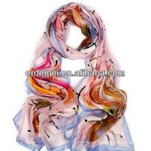 Écharpe en soie pure et imprimée au printemps / automne