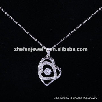 Wholesale Alibaba ZheFan New Models 925 Sterling Silver Dancing Pendant Necklace