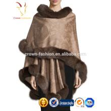 Women Cashmere Shawl with Fur Trim