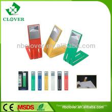 Várias cores 1 LED flexível plástico livro leitura luz com clipe