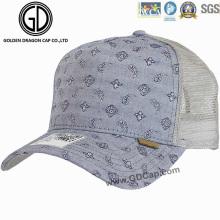 Trendy gewaschenen Denim Paisley Pattern Mesh Baseball Hat / Trucker Cap