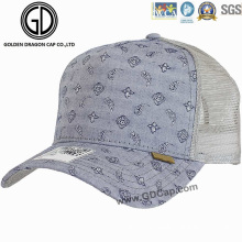 Trendy Washed Denim Paisley Pattern Mesh Chapéu de basebol / boné de camionista