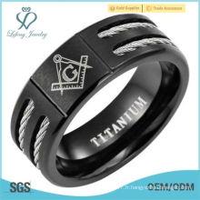 New Mens Black Titanium Masonic Ring Latin Gravure Intérieur